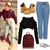 top,peshiiee,knit crop sweater,topshop,vintage,sweater,timberlands,jeans,jade thirlwall,little mix,summer outfits,black shirt,shoes,shirt