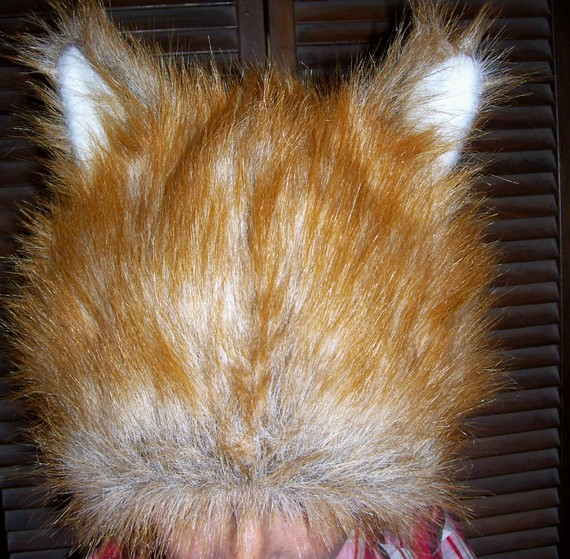 Red fox fur hat with ears by avantegarb on etsy