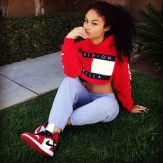 sweater fashion killa red white blue hoodie sweater hoodie fashion fashion trends cropped sweater belly shirt long sleeves exactly like the picture exact like this one top crop tops