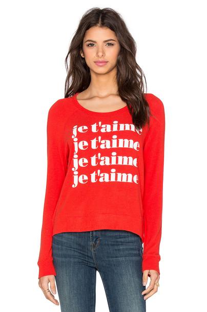SUNDRY sweatshirt crop sweatshirt red