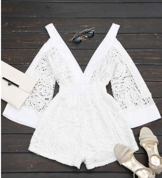 romper girly white long sleeve romper lace romper white romper lace v neck