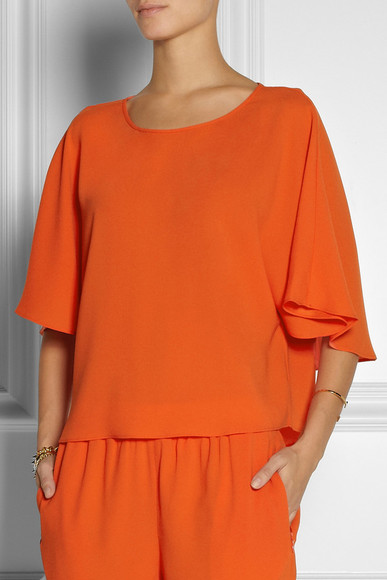 orange shirt top tibi bibelot cape-back crepe top crepe top