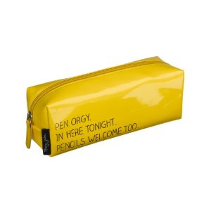 'pen orgy' yellow happy jackson rectangular pencil case by wild and wolf: amazon.co.uk: office products