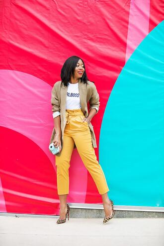 jadore-fashion blogger pants t-shirt jacket shoes blazer yellow pants pumps