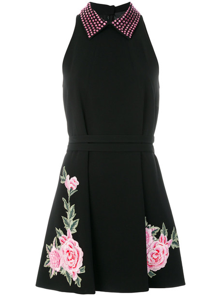 dress embroidered women spandex black