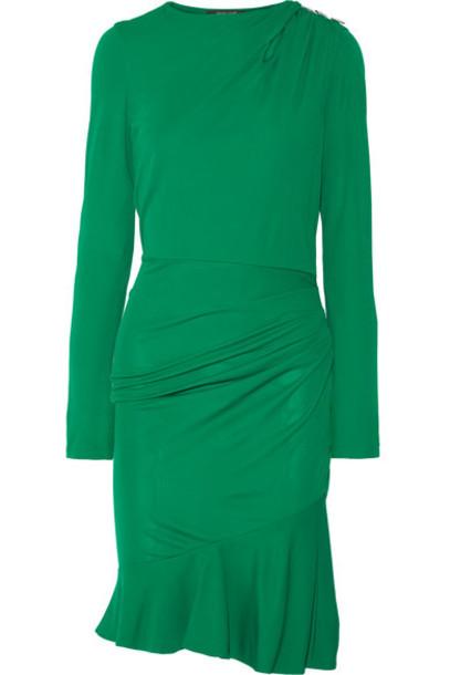 Roberto Cavalli - Embellished Gathered Stretch-jersey Mini Dress - Forest green