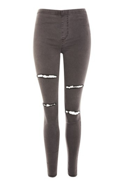 Topshop leggings denim ripped grey pants