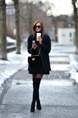 vogue haus blogger dress coat shoes bag sunglasses thigh high boots boots gucci belt winter outfits chanel valentines day date outfit