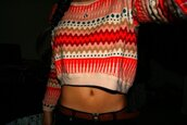 sweater,aztec,coral,peach,stripes,zig zag print