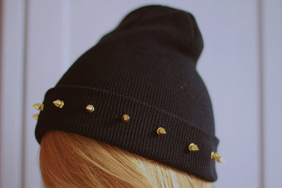 Studded spiked BEANIE Black by SORUTHLESS on Etsy