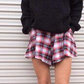 plaid skirt,plaid,black sweater,waffle knit,waffle sweater,red plaid,red plaid skirt,skirt,high waisted,high waisted skirt