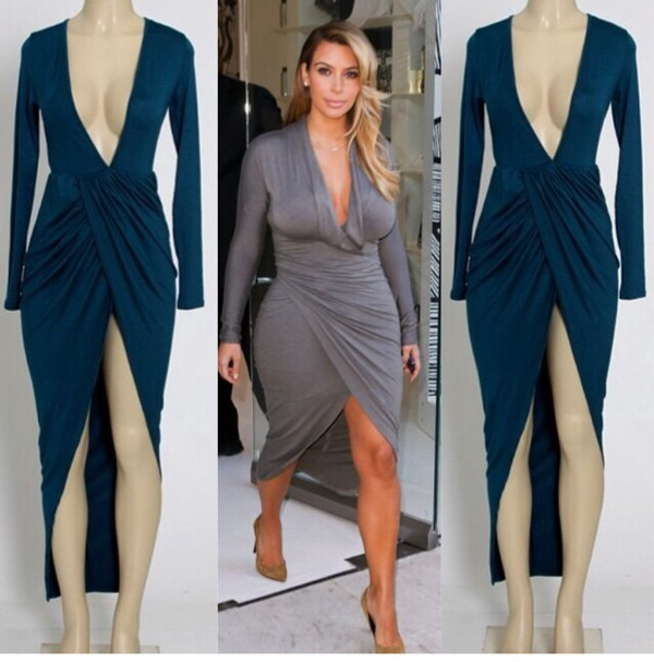 kim kardashian dress dress long sleeve dress high low