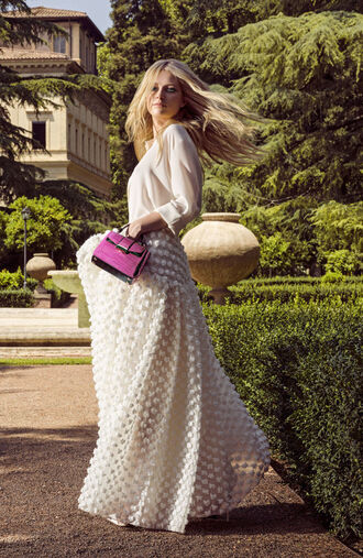 skirt maxi maxi skirt lottie moss model blouse editorial bag