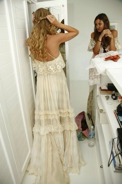 Dress boho lacew wedding gown beach spring hippie for White hippie wedding dress