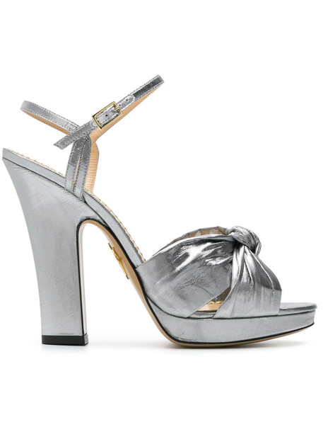 charlotte olympia women sandals silver leather grey metallic shoes