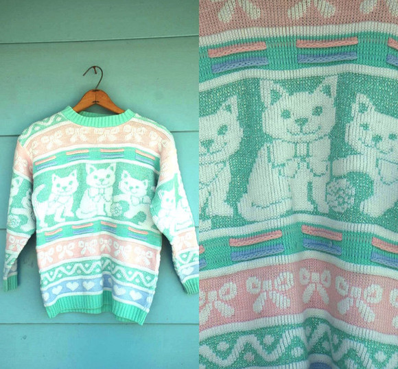 sweater cat sweater pastel blue pink cats