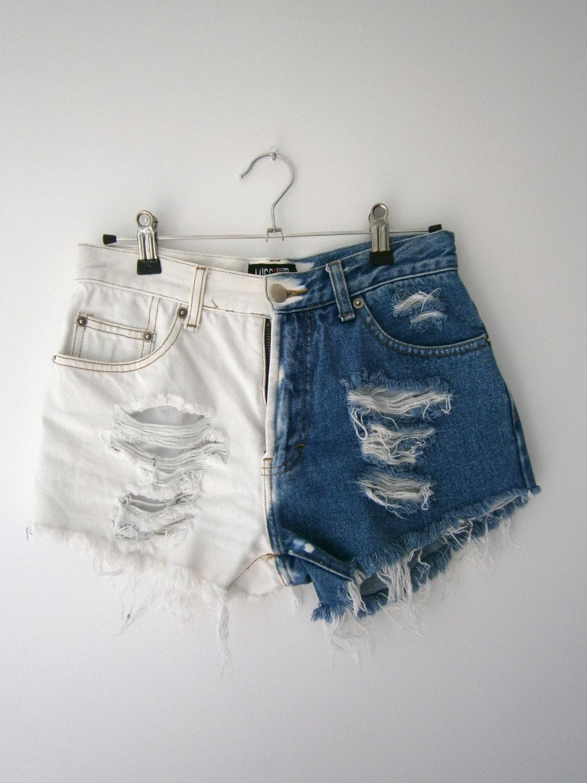 Blue and white denim high waisted shorts