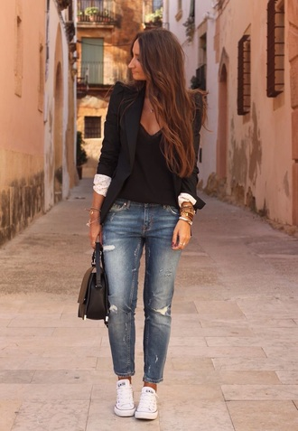jeans ripped jeans boyfriend jeans denim style casual dress