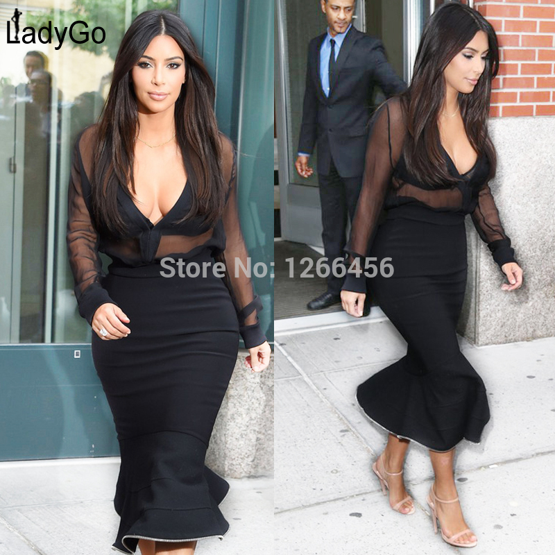 Aliexpress.com : Buy LADY GO 2014 Autumn Hot Kim kardashian dress Black Mesh Mermaid Celebrity Rayon Two Pieces Bandage Dresses H1114 from Reliable dresses wear birthday party suppliers on Lady Go Fashion Shop