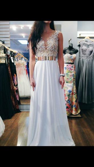 dress chiffon dress white dress gold belt