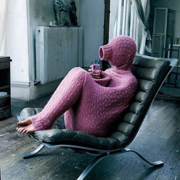 winter outfits pink comfy knitwear
