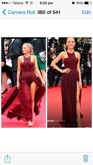 blake lively maroon dress burgundy