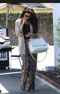pants brown black selena gomez flowy cream tan
