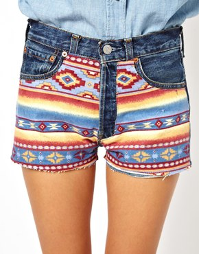 ASOS | ASOS Reclaimed Vintage Levi 501 Shorts with Aztec Print at ASOS