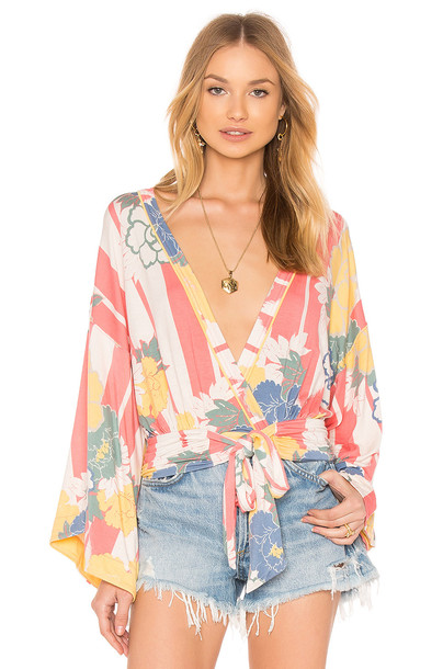 Free People top printed top pink