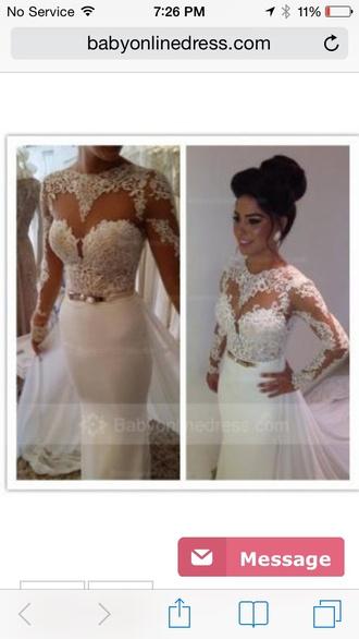 dress elegant dress lace dress white dress mermaid prom dress