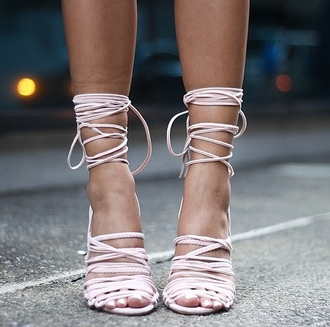 shoes pink light pink lace up heels