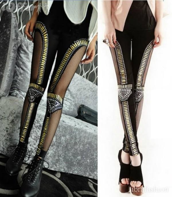 leggings embellished gold silver minaj nicki minaj black pants pants