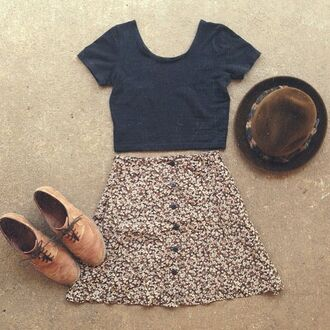 skirt vintage hat crop tops boots pretty retro