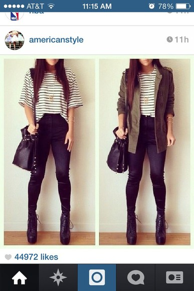 necklace shirt shoes gold necklace jacket big black studded bag black studded bag green jacket black shoes striped shirt