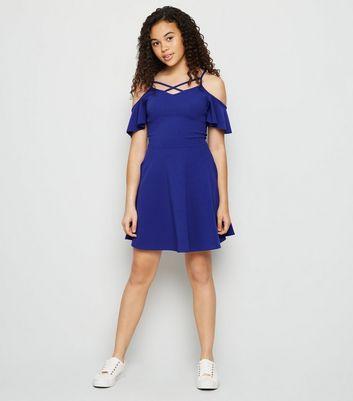 Girls Blue Cold Shoulder Lattice Dress | New Look