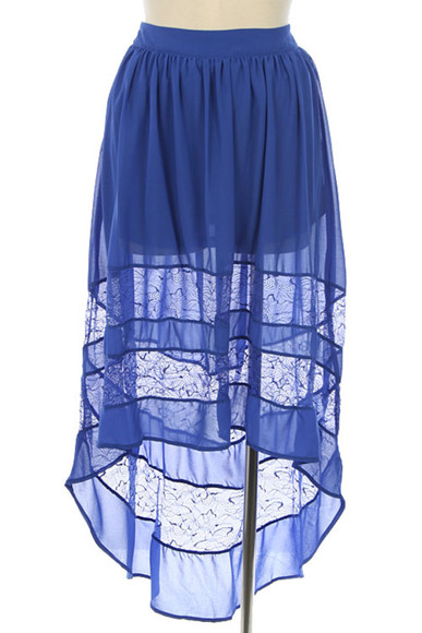 skirt blue skirt short dress royal blue lace tiered skirt high-low dresses