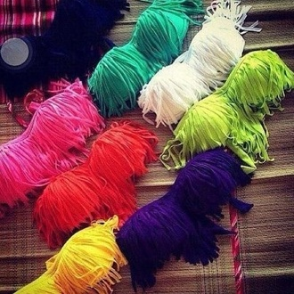swimwear bikini colour summer fringe bikini pink green yellow orange blue white