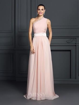 dress prom dress pastel pink one shoulder