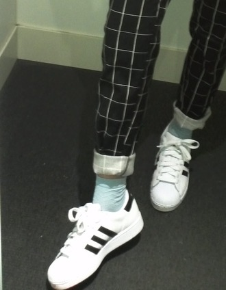 pants grid black black and white tumblr aesthetic shoes adidas grids aesthetic tumblr