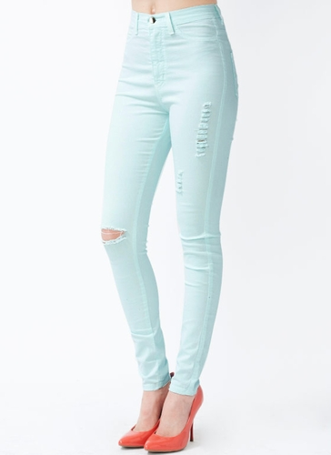 GJ | Distressed High-Waisted Jeggings $44.50 in LAVENDER LTPINK MINT TOMATO - High-Waisted | GoJane.com