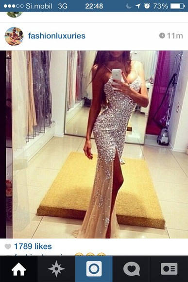 dress sparkle dress glitter dress prom split dress