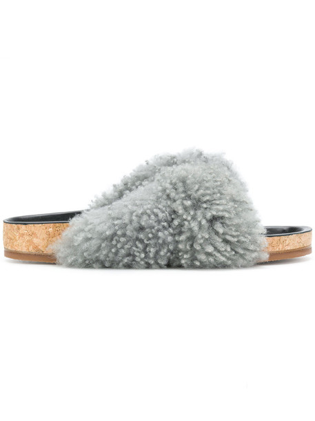 Chloe women mules leather grey shoes