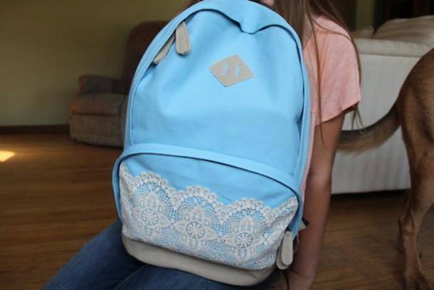 983a7ec61b bag rucksack backpack denim blue outfitters bag lace bag school bag