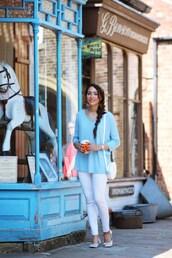 preppy fashionist,blogger,jeans,bag,jewels,blue top,long sleeves,shoulder bag,white jeans,skinny jeans,white heels