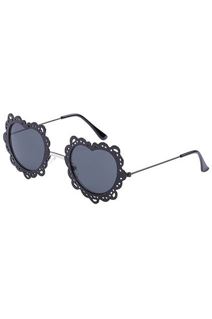 ROMWE | ROMWE Black Heart-shaped Frame Sunglasses, The Latest Street Fashion