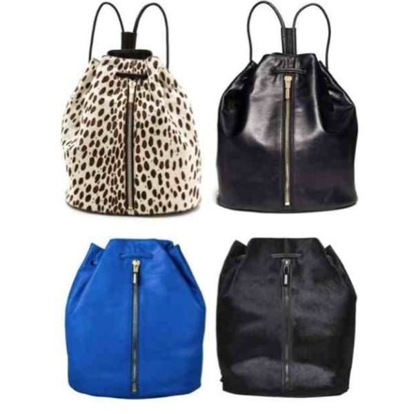 bag leopard print black leather backpack