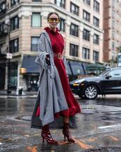 coat,checkered,midi dress,ruffle dress,belted dress,sunglasses,high heels boots