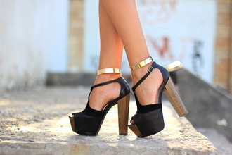 shoes high heels @shoes jewels gold ankle strap ankle cuff ankle cuffs gold ankle cuffs gold ankl wooden heel black golden sandals summer