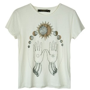Something Else White Cosmic Hands Tee - Polyvore