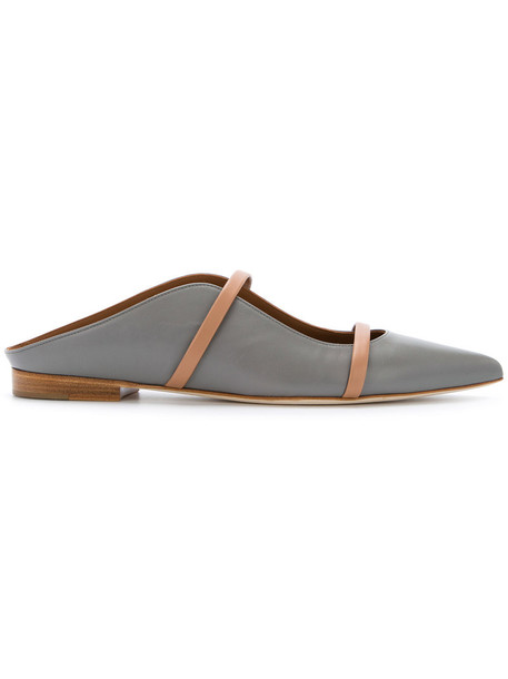 women mules leather grey shoes